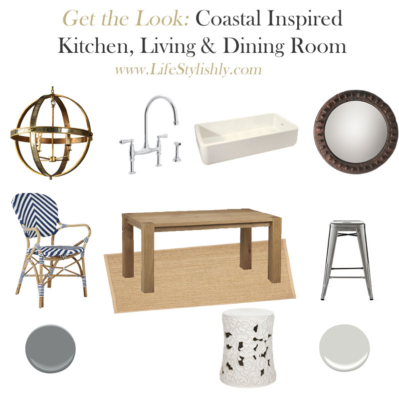 Get the look a coastal gray blue and white Kitchen, Living and Dining Room