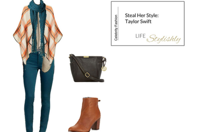 Steal Her Style: Taylor Swift's Plaid Poncho and Teal Jeans Outfit